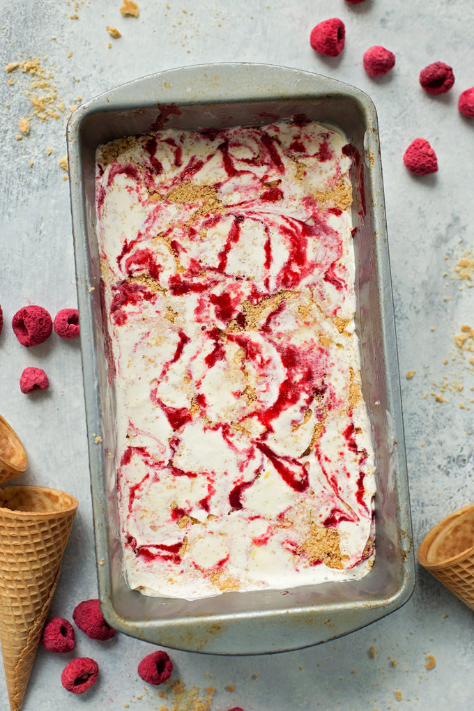 Raspberry Cheesecake Ice Cream | lifemadesimplebakes.com