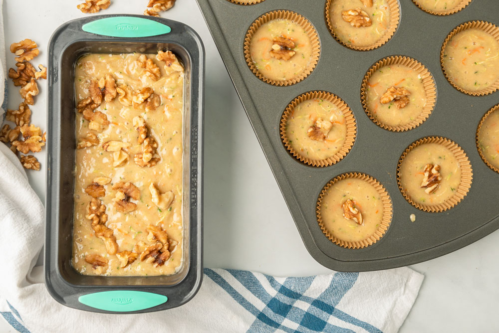 mom's zucchini bread recipe in a loaf pan and muffin tin
