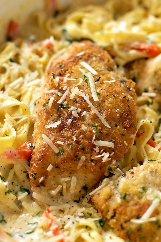 Close up of Olive Garden Tuscan Garlic Chicken