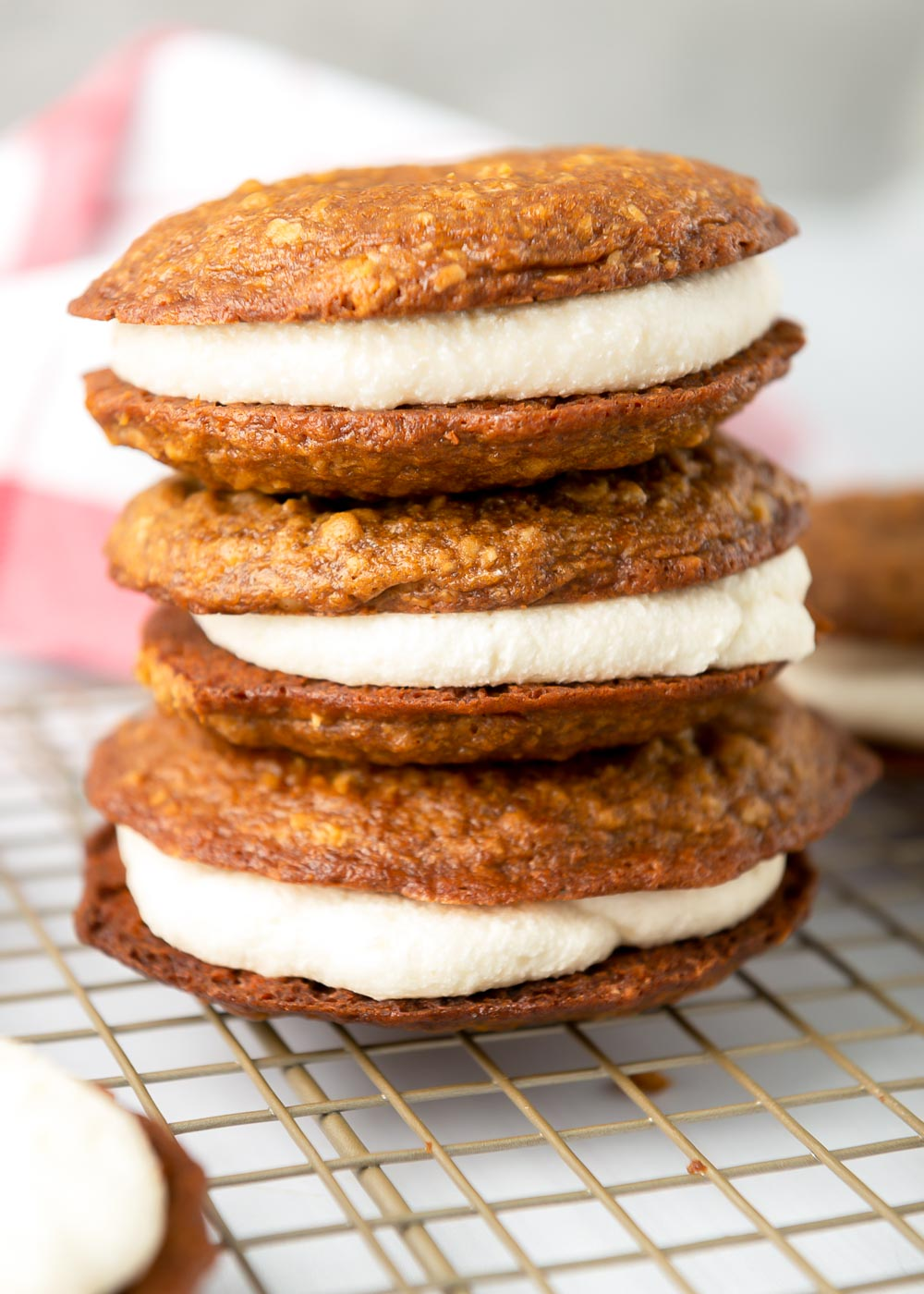 Close up of a stack of oatmeal creme pies