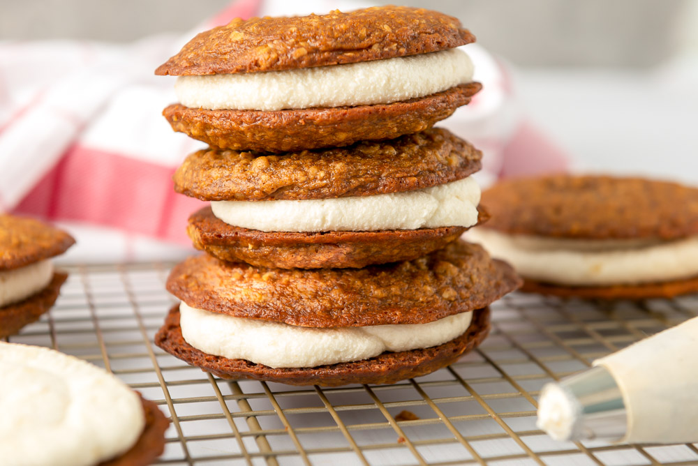 Oatmeal Creme Pies stacked on top of each other
