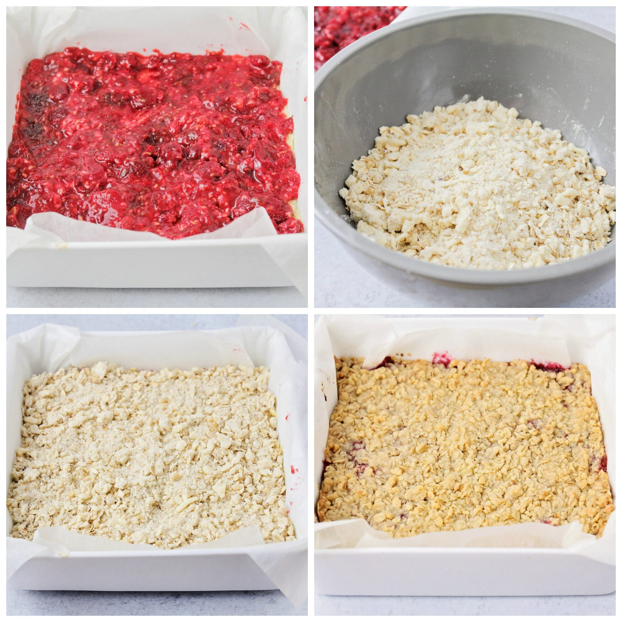 Step by step pictures for how to make raspberry bars