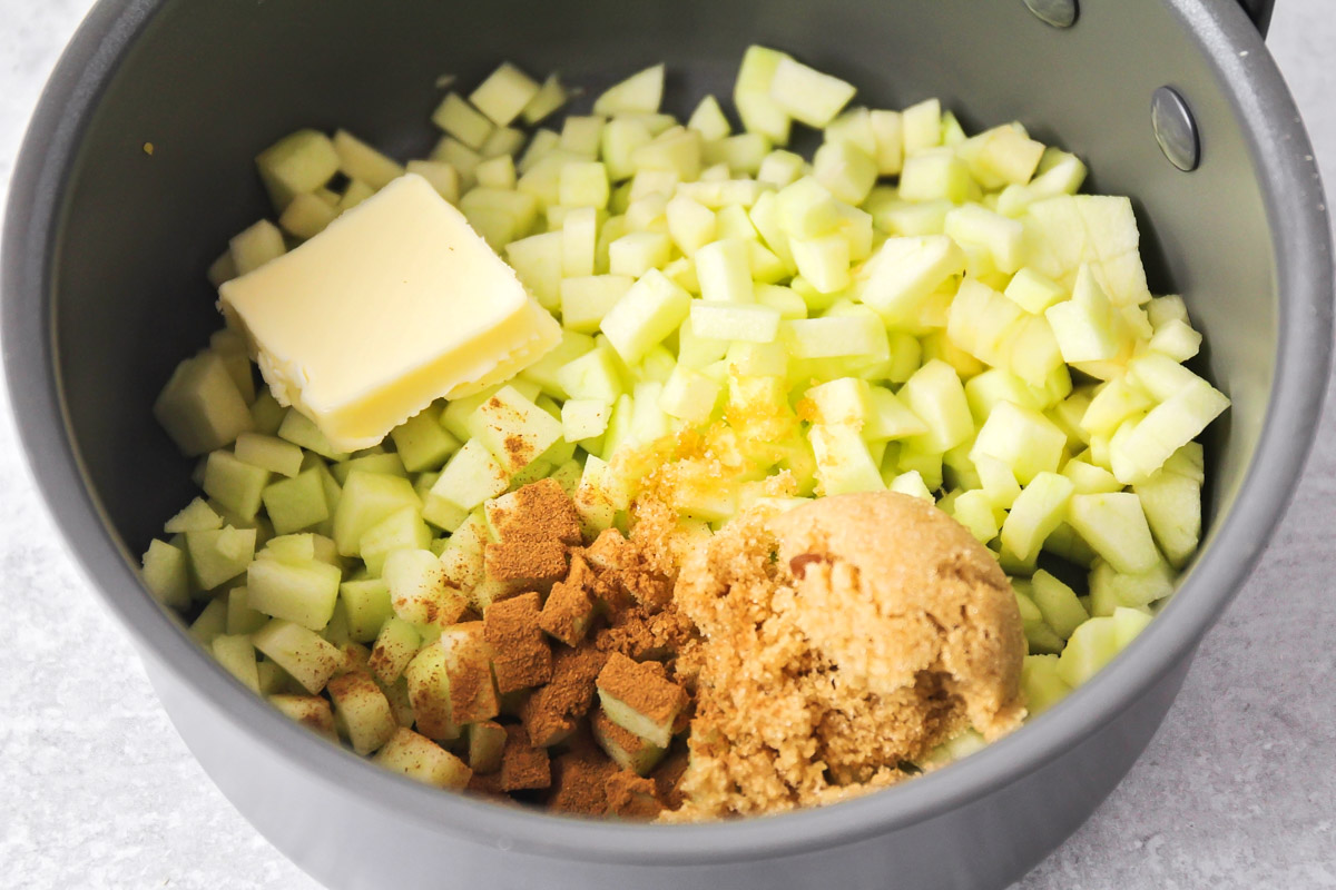 ingredients for filling of apple pie cupcakes