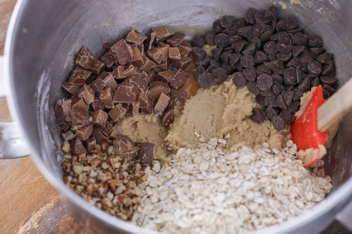 Ingredients for carmelita cookies recipe in a mixing bowl