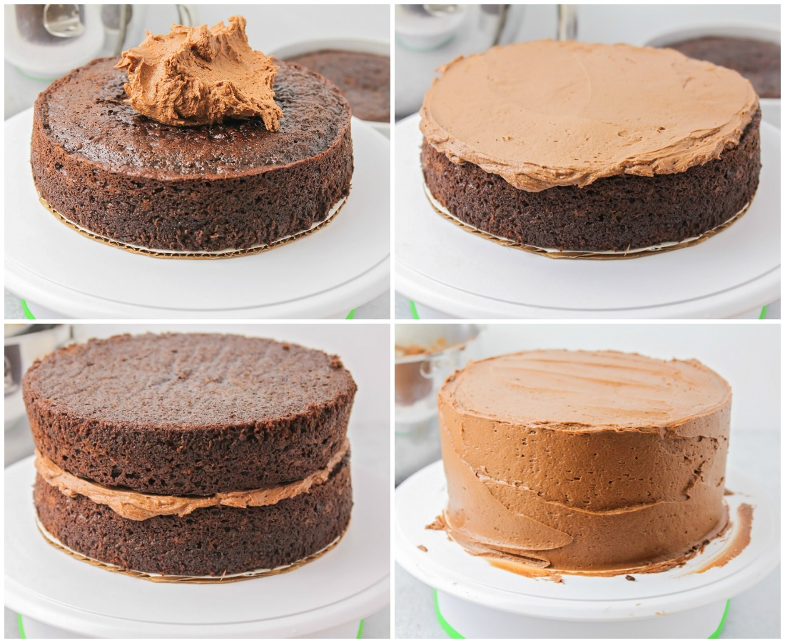 Step by step pictures of how to frost a chocolate layer cake