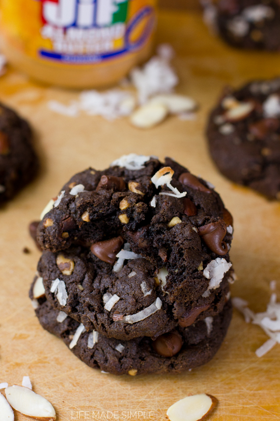 Flourless Chocolate Almond Joy Cookies