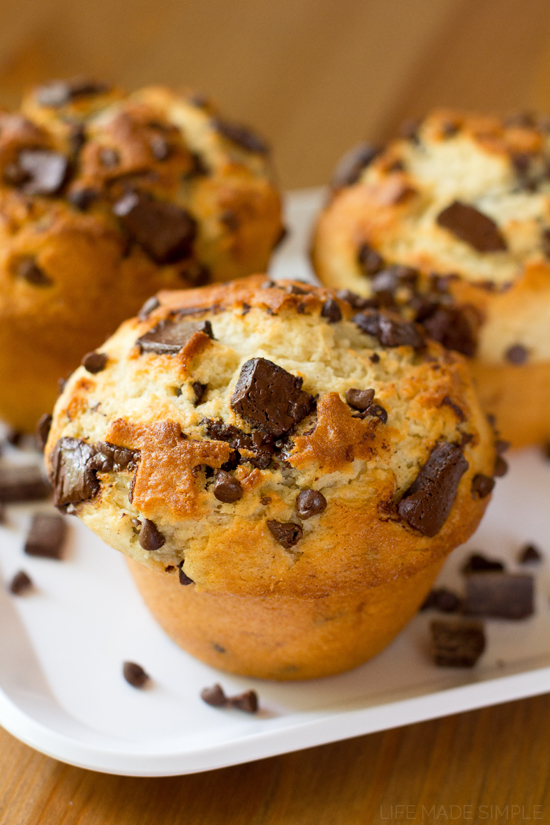 Jumbo Bakery Style Banana Chocolate Chunk Muffins Life Made Simple