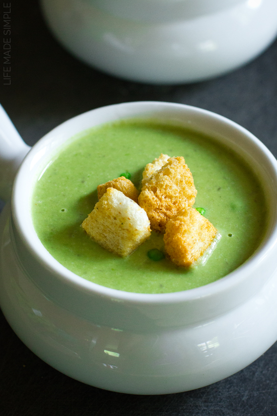 Spring Pea Soup with Leeks and Lentils