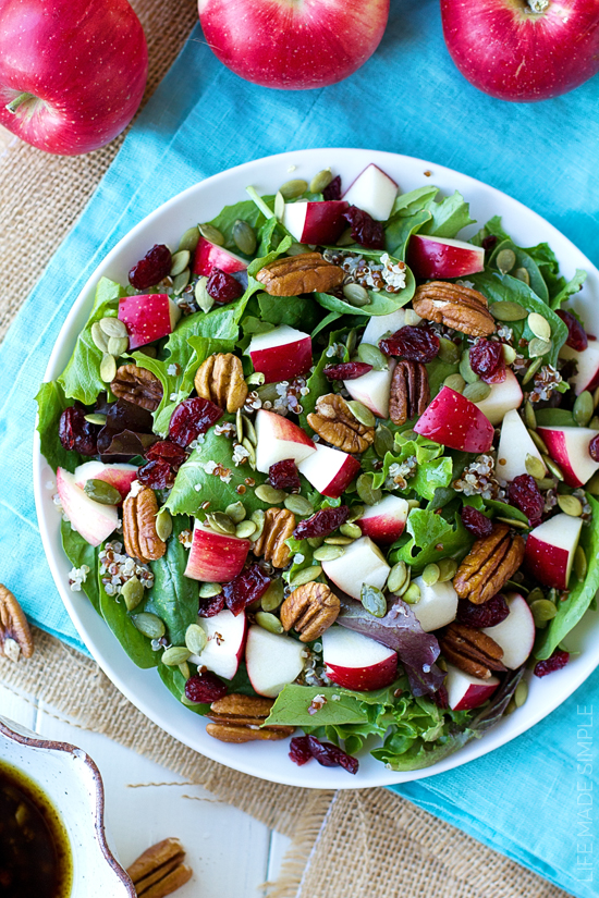 Apple Harvest Salad in a white bowl