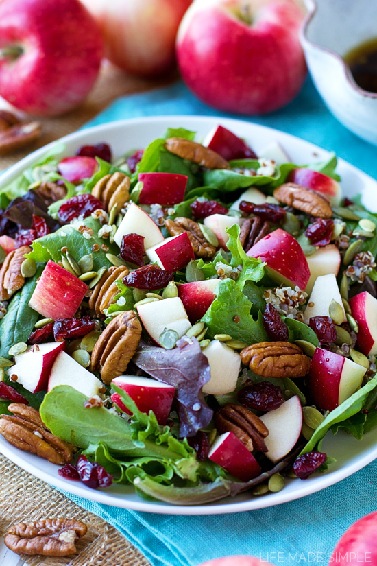 Fall Harvest Salad in a white bowl