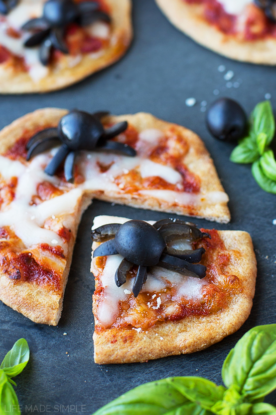 Mini Spooky Spider Pizzas with California Ripe Olives