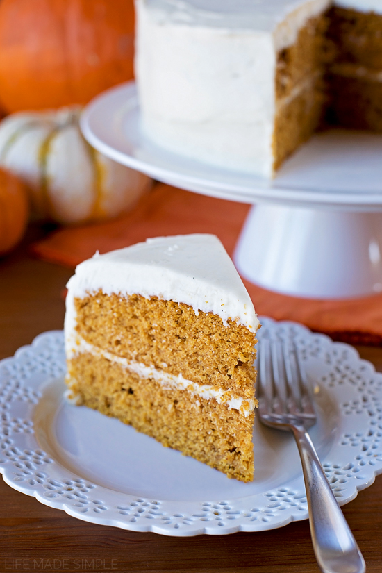Pumpkin Layer Cake recipe on a white plate