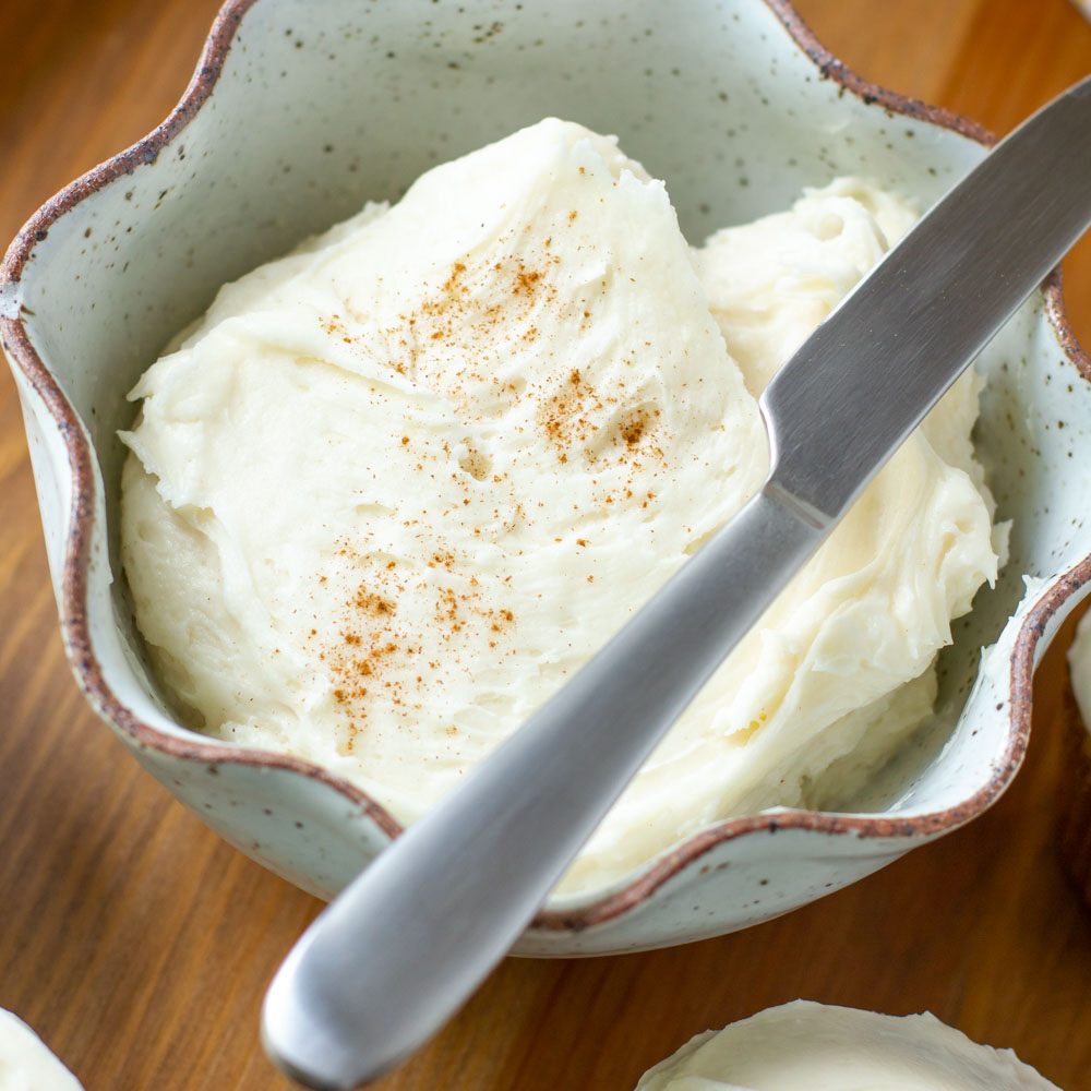 cream cheese frosting in bowl