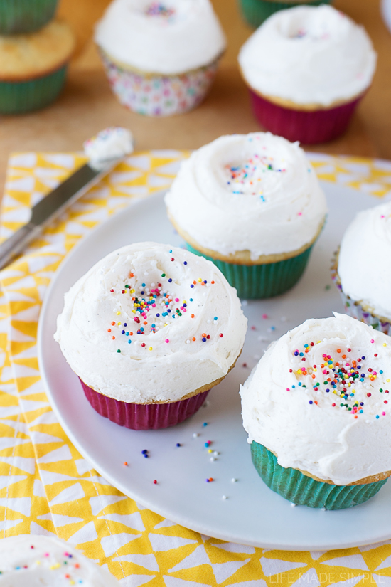 Frosted Vanilla Cupcakes on a white plate