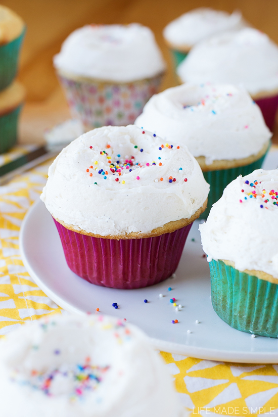Vanilla Cupcake Recipe with frosting and sprinkles