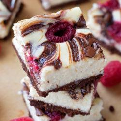 Raspberry Nutella Swirl Cheesecake Bars