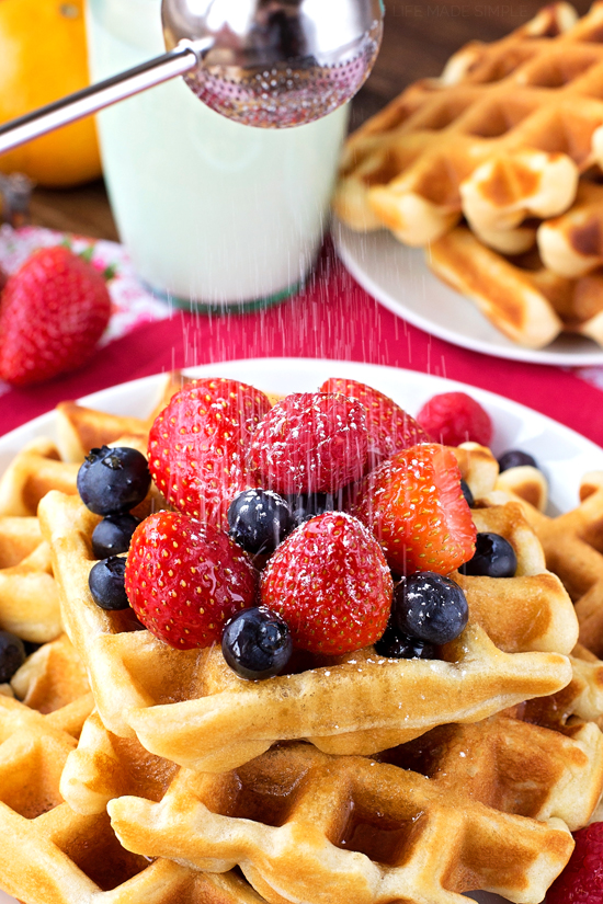 Buttermilk waffles with powdered sugar