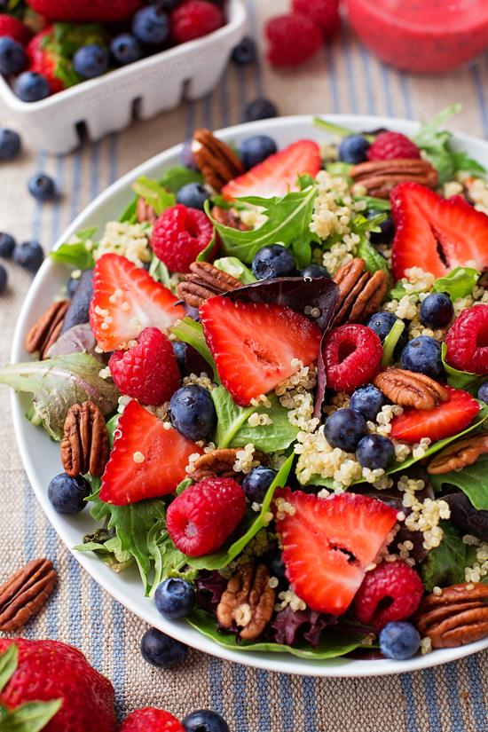 Berry Pecan Quinoa Salad in a bowl