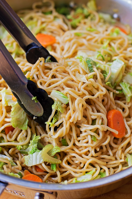 Chow mein made at home in skillet