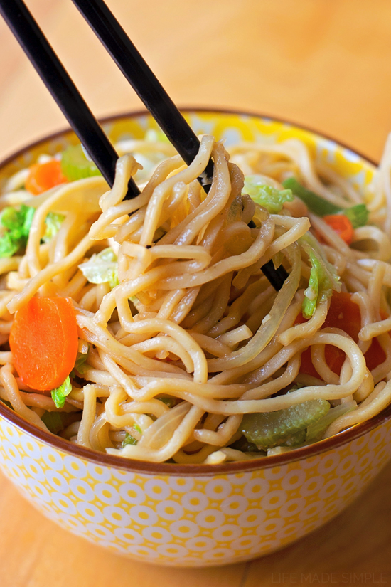 Homemade Chow Mein recipe in bowl