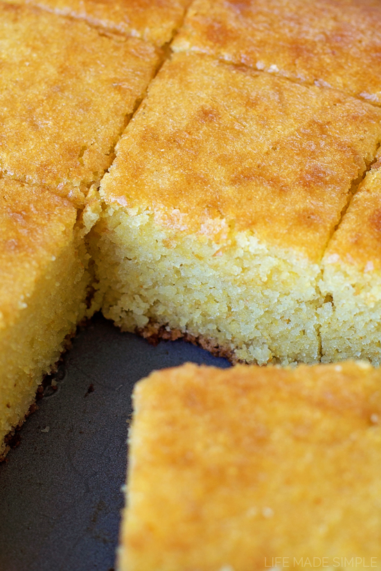 Cornbread cooked and sliced in pan