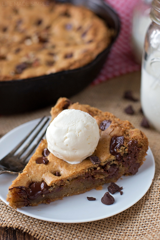 Chocolate Chip Skillet Cookie with ice cream on top