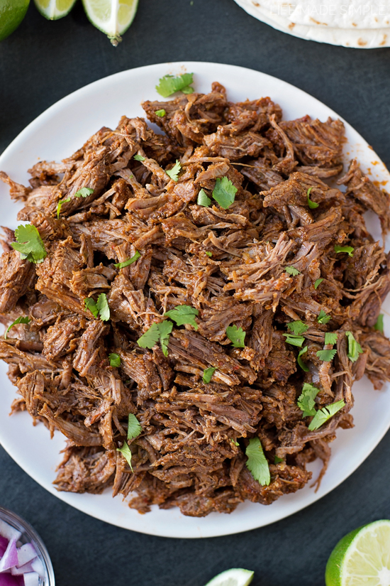 Beef Barbacoa Recipe on a white plate