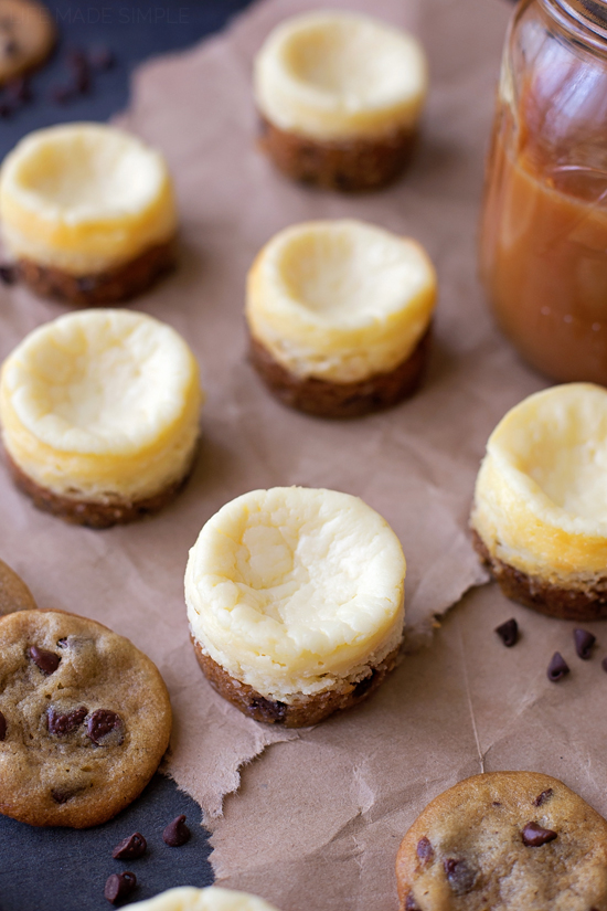 Mini Chocolate Chip Cookie Bottom Cheesecakes with Vanilla Bean Salted Caramel