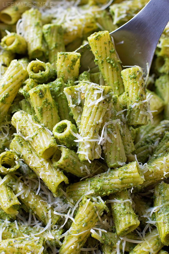 Kale Spinach And Basil Pesto Baked Pasta