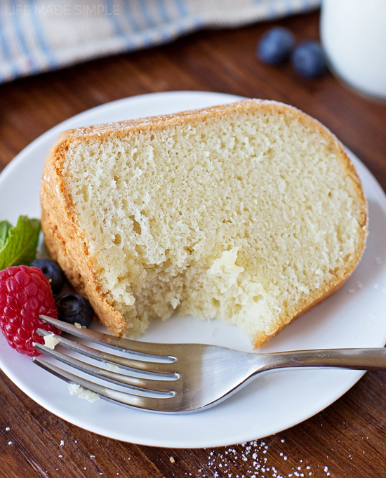 Pound Cake recipe on white plate