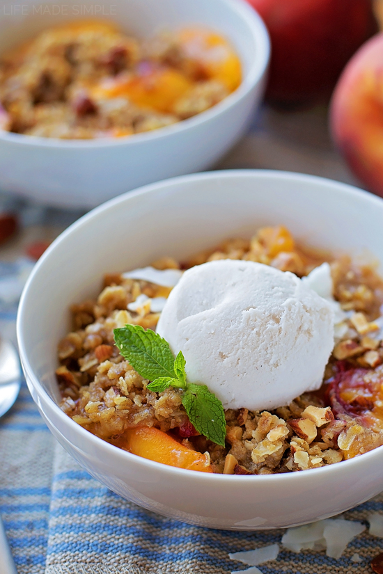 Peach Crisp with Almond Coconut Ice Cream