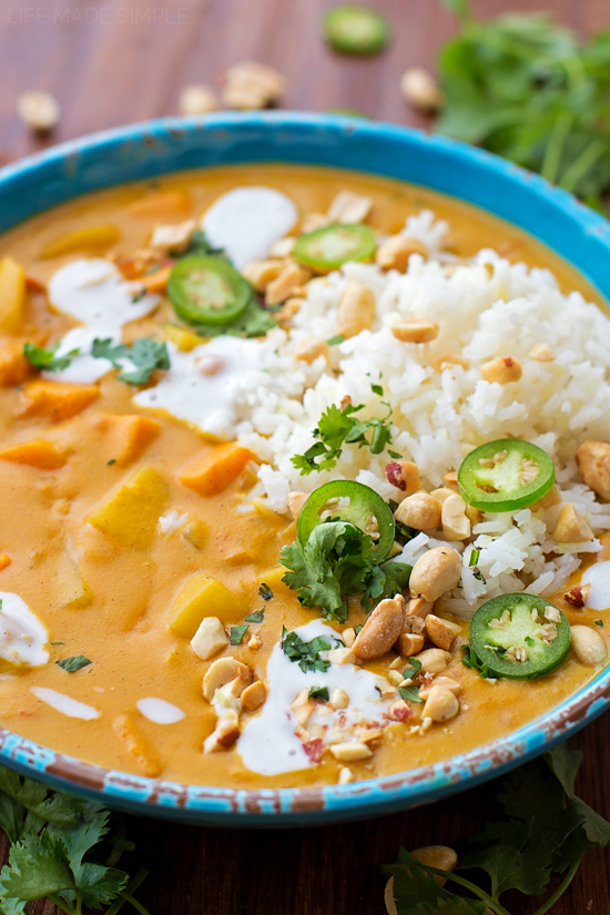 Sweet Potato curry in blue bowl