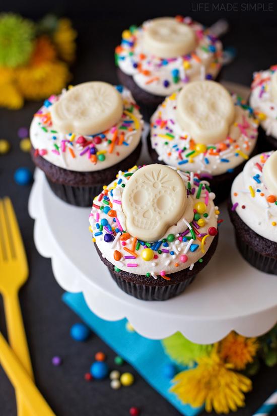 Black and White Sugar Skull Cupcakes