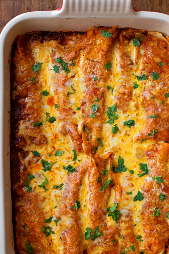 Shredded Beef Enchiladas in a casserole dish