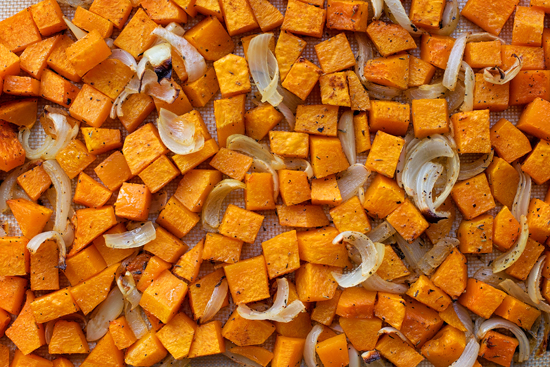 Roasted Butternut Squash on a sheet pan with onion and garlic