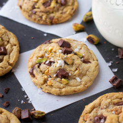 Dark Chocolate Chunk Pistachio Cookies