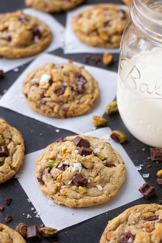 Dark Chocolate Chunk Pistachio Cookies