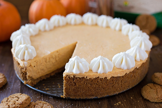No Bake Pumpkin Cheesecake with slice taken out