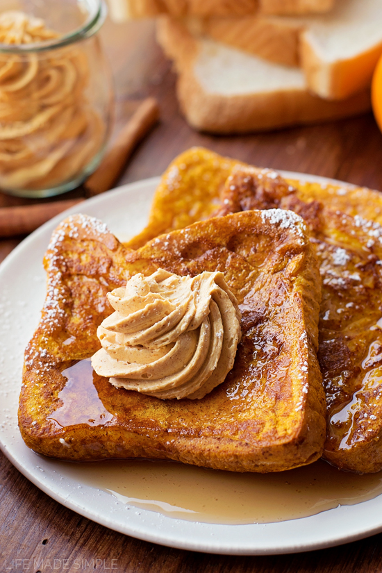Pumpkin French Toast recipe with Whipped Pumpkin Butter