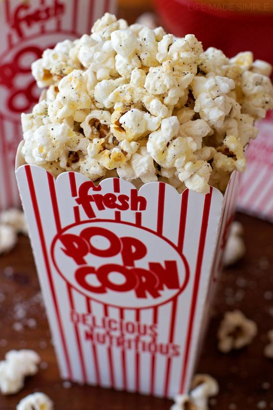 Black Pepper Parmesan Popcorn | lifemadesimplebakes.com