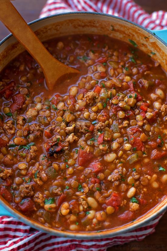 Lentil White Bean Chili | lifemadesimplebakes.com