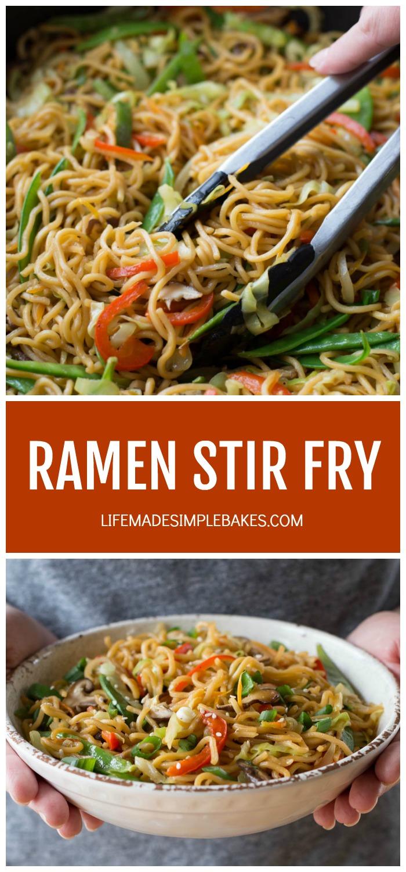 Ramen stir fry with chopsticks in white bowl