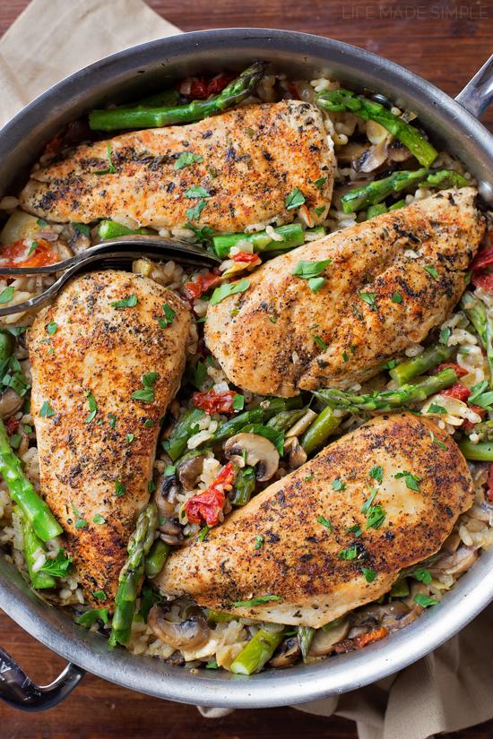 Tuscan Chicken and Rice Skillet | lifemadesimplebakes.com