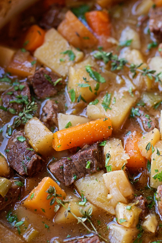 Vegetable beef stew close up image