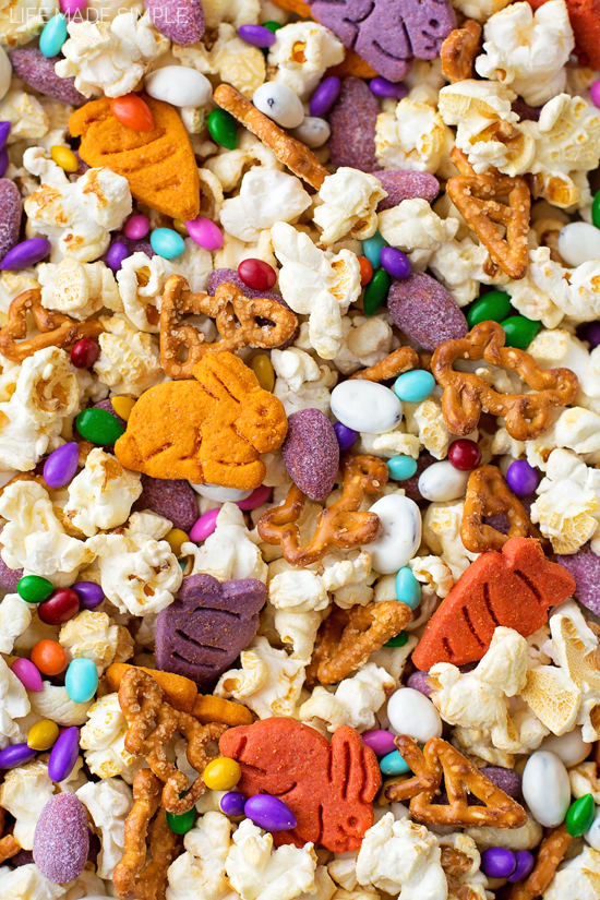 Bunny Bait recipe with popcorn, pretzels, crackers, and candy nuts
