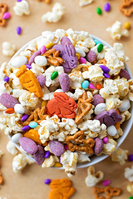 Bunny Bait Trail Mix in a white bowl