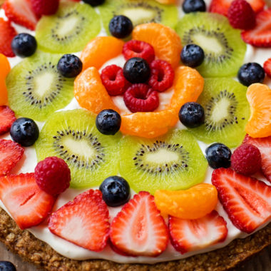 Healthier Breakfast Fruit Pizza | lifemadesimplebakes.com