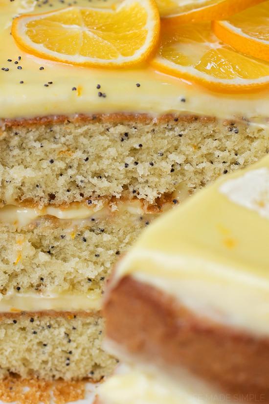 Close up of lemon poppy seed cake layers