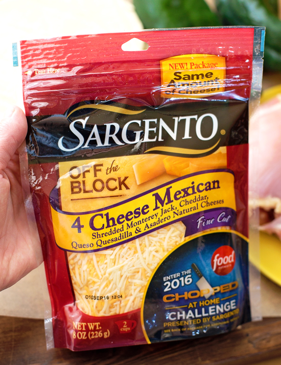 Sargento cheese used for creamy chicken enchiladas