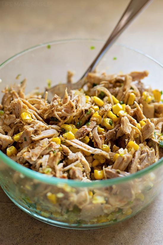 Filling for creamy chicken enchilada recipe in a bowl